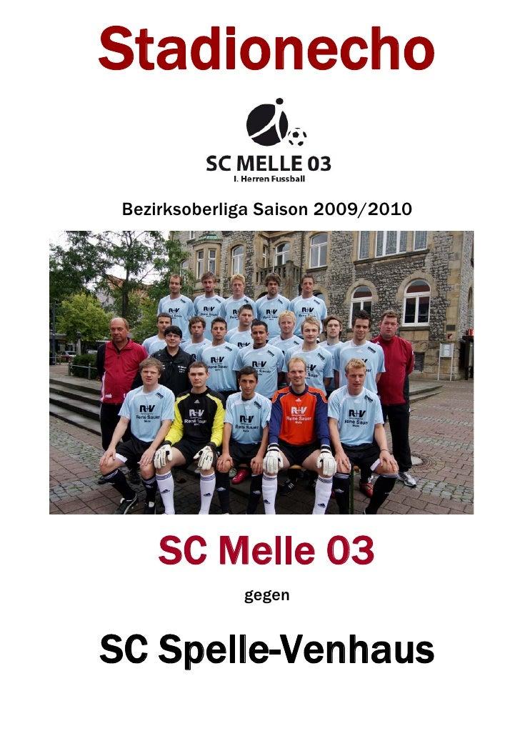 Stadionecho   Bezirksoberliga Saison 2009/2010          SC Melle 03               gegen   SC Spelle-Venhaus