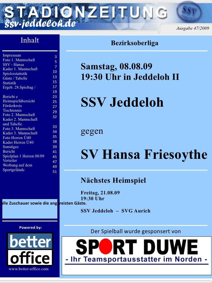 Inhalt Impressum Foto 1. Mannschaft  SSV - Hansa Kader 1. Mannschaft  Spielerstatistik  Gäste / Tabelle Statistik Ergeb. 2...