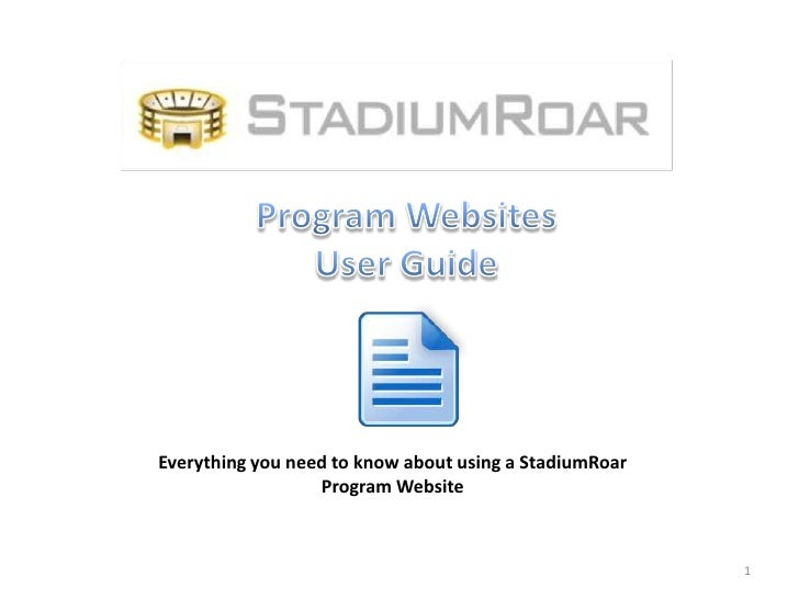 Everything you need to know about using a StadiumRoar                  Program Website                                    ...