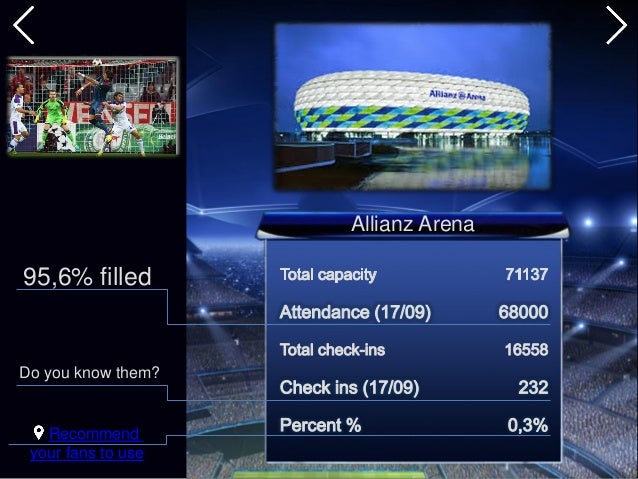 Allianz Arena 95,6% filled Recommend your fans to use Do you know them?