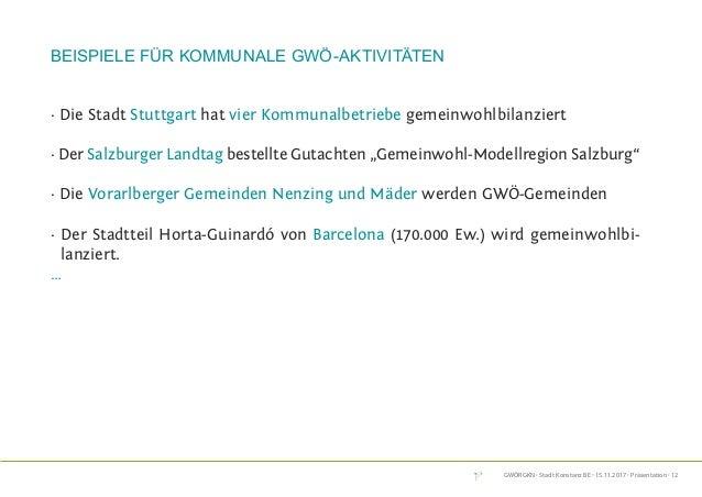 GWÖRGKN · Stadt Konstanz BE · 15.11.2017 · Präsentation · 12 Beispiele für Kommunale GWÖ-Aktivitäten · Die Stadt Stuttgart...