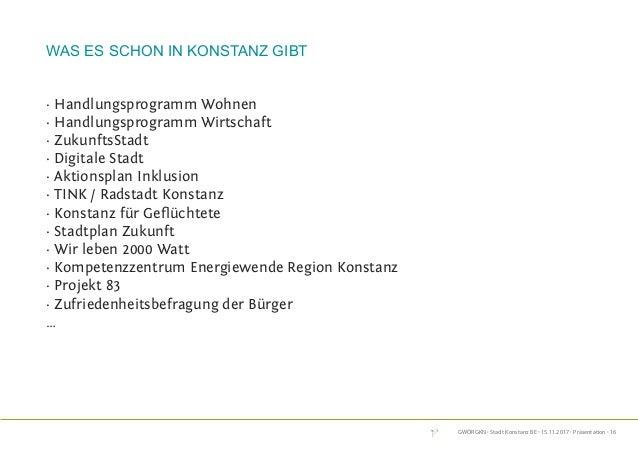 GWÖRGKN · Stadt Konstanz BE · 15.11.2017 · Präsentation · 16 was es schon in konstanz gibt · Handlungsprogramm Wohnen · Ha...