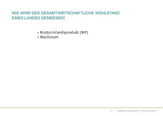 GWÖRGKN · Stadt Konstanz BE · 15.11.2017 · Präsentation · 4 + Brutto-Inlandsprodukt (BIP) + Wachstum Wie wird der gesamtwi...