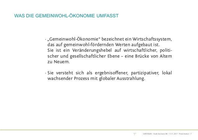 """GWÖRGKN · Stadt Konstanz BE · 15.11.2017 · Präsentation · 7 · """"Gemeinwohl-Ökonomie"""" bezeichnet ein Wirtschaftssystem, das ..."""