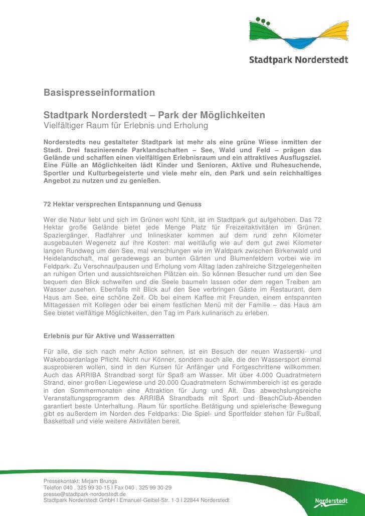 BasispresseinformationStadtpark Norderstedt – Park der MöglichkeitenVielfältiger Raum für Erlebnis und ErholungNorderstedt...