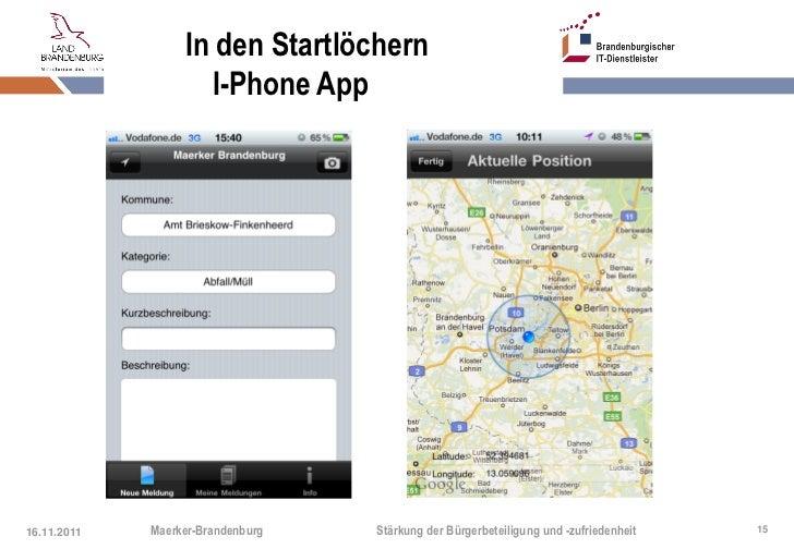 In den Startlöchern                    I-Phone App16.11.2011   Maerker-Brandenburg   Stärkung der Bürgerbeteiligung und -z...