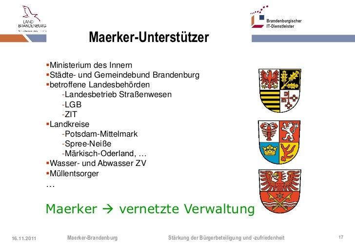 Maerker-Unterstützer             Ministerium des Innern             Städte- und Gemeindebund Brandenburg             be...