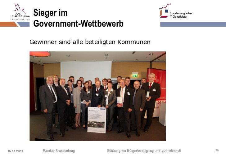 Sieger im              Government-Wettbewerb             Gewinner sind alle beteiligten Kommunen16.11.2011       Maerker-B...