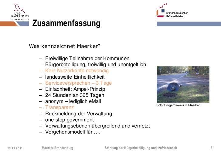 Zusammenfassung             Was kennzeichnet Maerker?                –     Freiwillige Teilnahme der Kommunen             ...