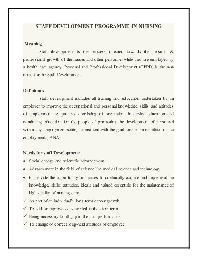 professional development for nurses definition