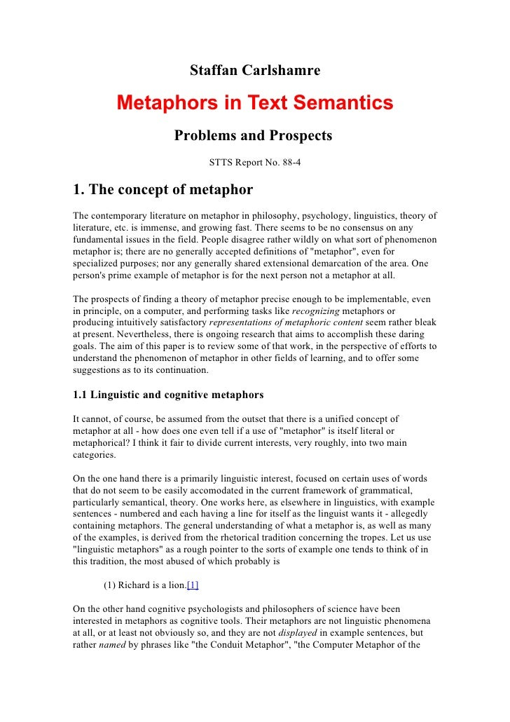 Staffan Carlshamre             Metaphors in Text Semantics                          Problems and Prospects                ...