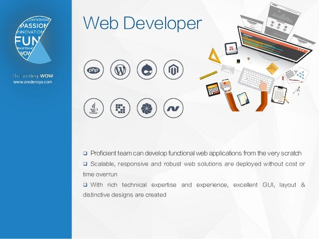 www.credencys.com Web Developer  Proficient team can develop functional web applications from the very scratch  Scalable...