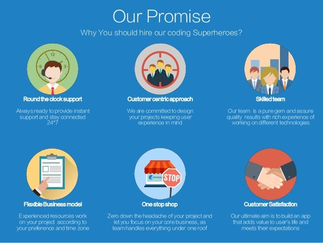 Our Promise Why You should hire our coding Superheroes? Round the clock support Always ready to provide instant support an...