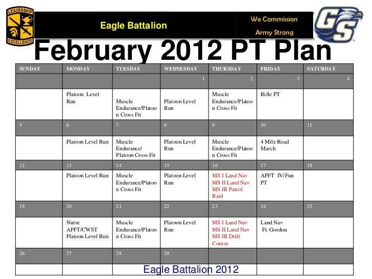 57 We Commission Eagle Battalion Army Strong February 2012 PT