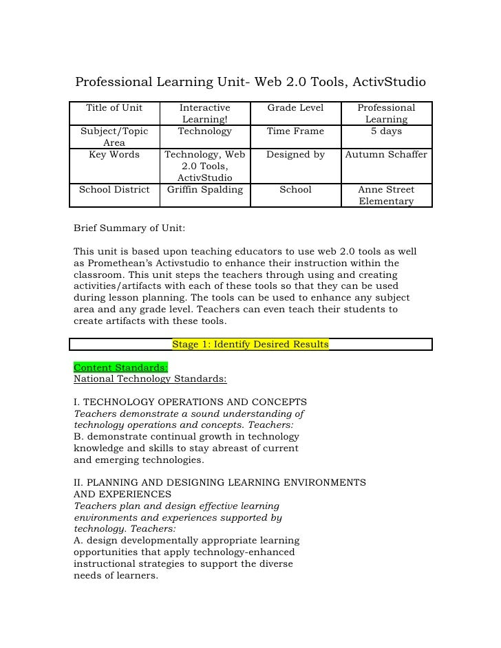 Professional Learning Unit- Web 2.0 Tools, ActivStudio  Title of Unit      Interactive        Grade Level       Profession...