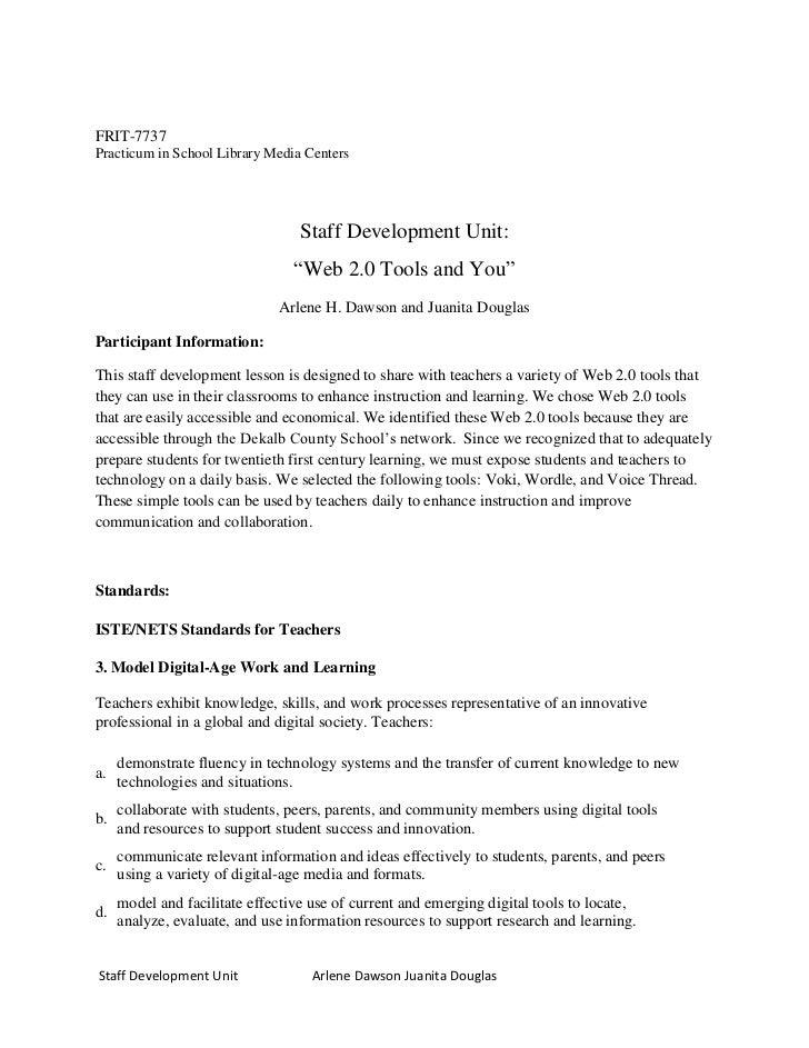 FRIT-7737Practicum in School Library Media Centers                                  Staff Development Unit:               ...