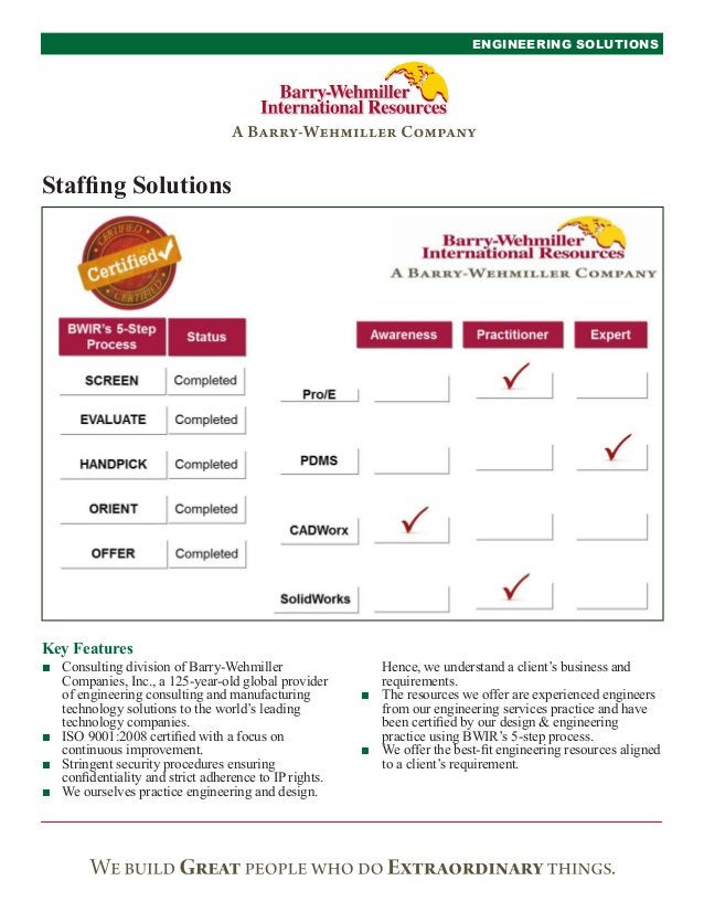 Key FeaturesENGINEERING SOLUTIONSStaffing SolutionsHence, we understand a client's business andrequirements.■■ The resourc...