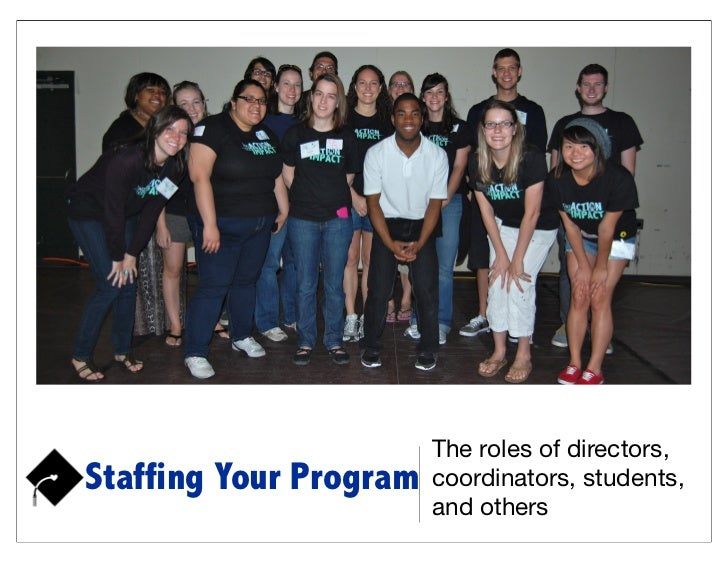 The roles of directors,Staffing Your Program   coordinators, students,                        and others