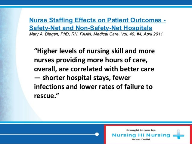 the effects of staffing levels on Objectives: this study estimates the effects of staffing components on the   staffing levels may be related to outcomes through impacts on the quantity of  care.