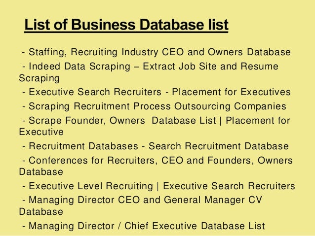 staffing  recruiting industry ceo and owners database