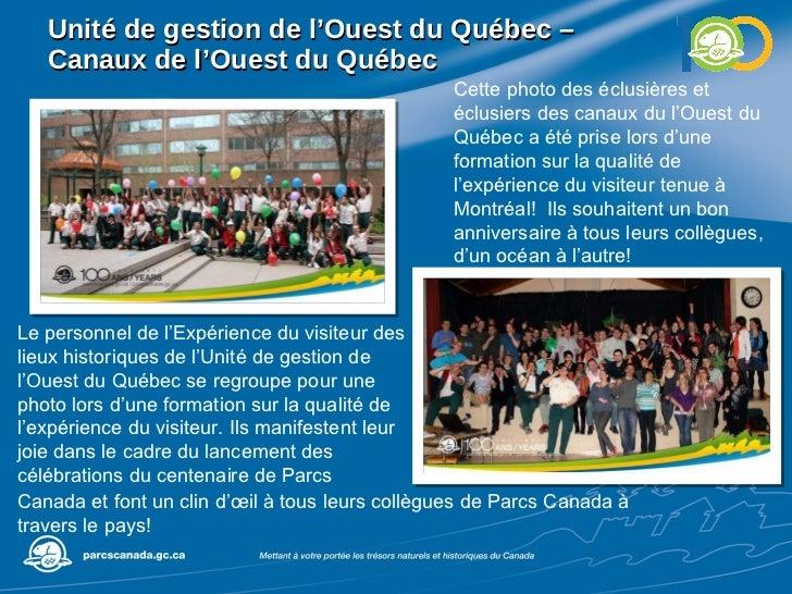 Unité de gestion de l'Ouest du Québec –  Canaux de l'Ouest du Québec Cette photo des éclusières et éclusiers des canaux du...