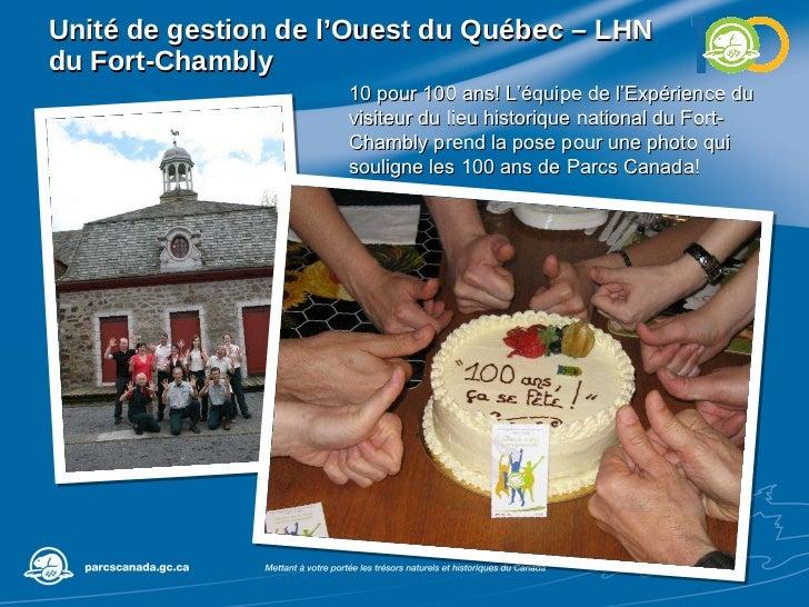 Unité de gestion de l'Ouest du Québec – LHN du Fort-Chambly 10 pour 100 ans! L'équipe de l'Expérience du visiteur du lieu ...
