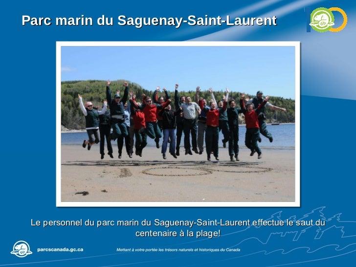 Parc marin du Saguenay-Saint-Laurent Le personnel du parc marin du Saguenay-Saint-Laurent effectue le saut du centenaire à...