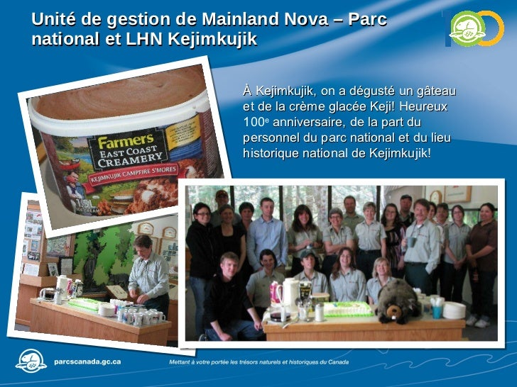 Unité de gestion de  Mainland Nova – Parc national et LHN Kejimkujik À Kejimkujik, on a dégusté un gâteau et de la crème g...