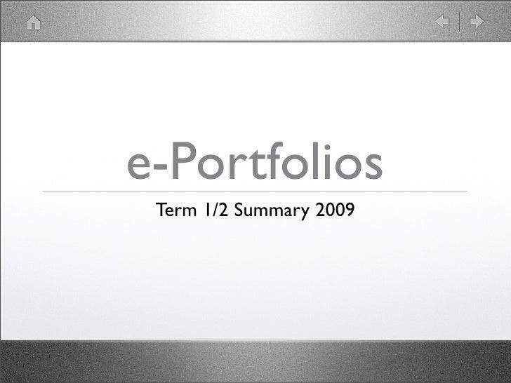 e-Portfolios Summary