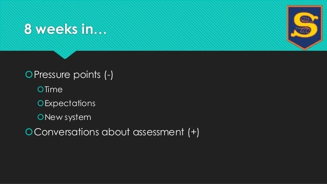 8 weeks in…  Pressure points (-)  Time  Expectations  New system  Conversations about assessment (+)