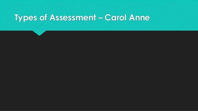 Types of Assessment – Carol Anne