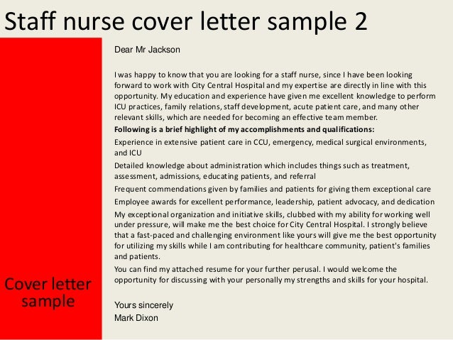 staff nurse cover letters
