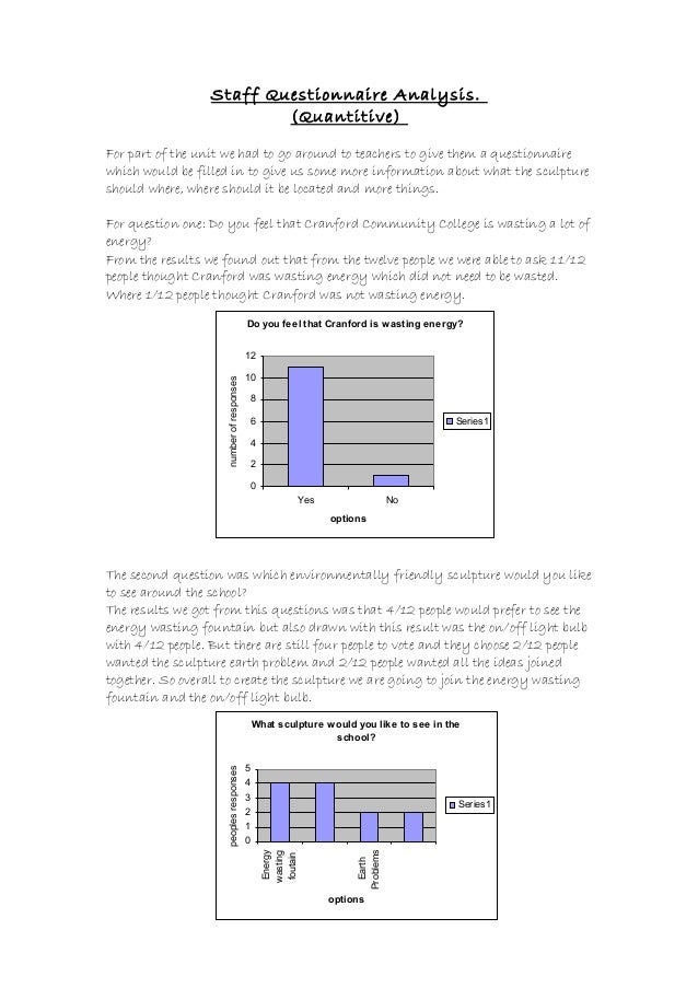 Staff Questionnaire Analysis. (Quantitive) For part of the unit we had to go around to teachers to give them a questionnai...