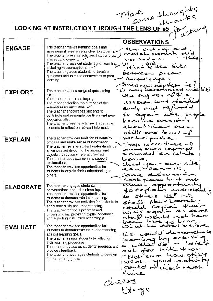 Staff reflections assessment