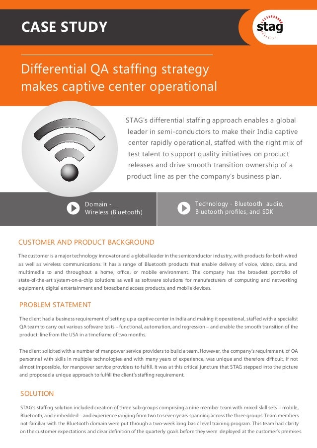 CASE STUDY Differential QA staffing strategy makes captive center operational                                             ...