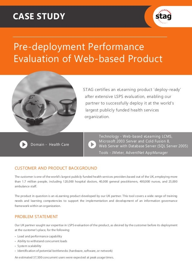 CASE STUDYPre-deployment PerformanceEvaluation of Web-based Product                                                     ST...