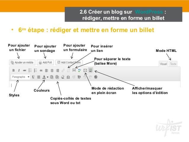 2.6 Créer un blog sur WordPress :  rédiger, mettre en forme un billet  • 6ème étape : rédiger et mettre en forme un billet...