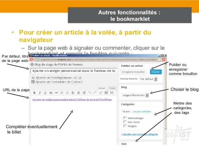 Autres fonctionnalités :  le bookmarklet  • Pour créer un article à la volée, à partir du  navigateur  – Sur la page web à...