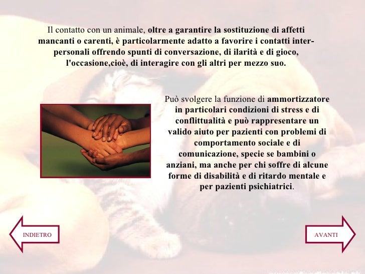 Il contatto con un animale,  oltre a garantire la sostituzione di affetti mancanti o carenti, è particolarmente adatto a f...