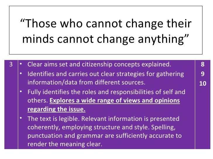 """Those who cannot change their   minds cannot change anything""3 • Clear aims set and citizenship concepts explained.      ..."