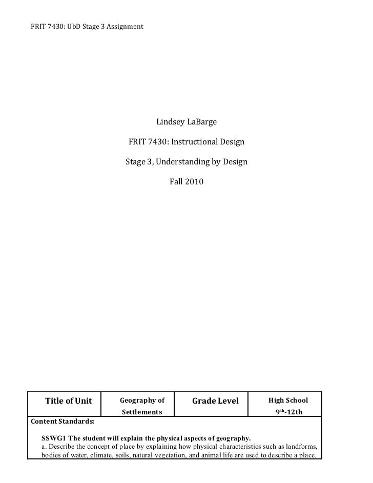 FRIT 7430: UbD Stage 3 Assignment                                           Lindsey LaBarge                               ...