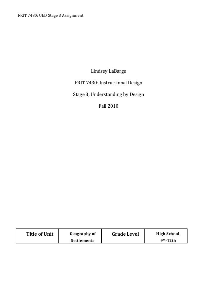 FRIT 7430: UbD Stage 3 Assignment                                    Lindsey LaBarge                            FRIT 7430:...