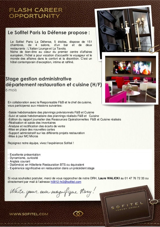 stage administratif fb cuisine sofitel la défense - Stage Cuisine Paris