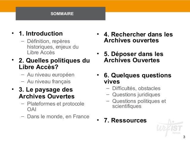Questions, méthodes et outils sur les Archives Ouvertes Slide 3