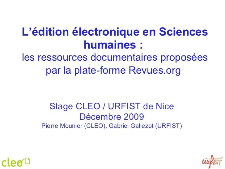 L'édition électronique en Sciences humaines :   les ressources documentaires proposées par la plate-forme Revues.org   Sta...