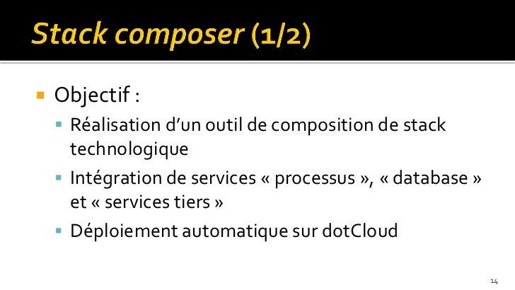   Objectif :     Réalisation d'un outil de composition de stack      technologique     Intégration de services « proce...