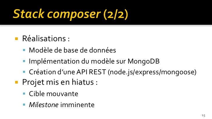    Réalisations :     Modèle de base de données     Implémentation du modèle sur MongoDB     Création d'une API REST (...