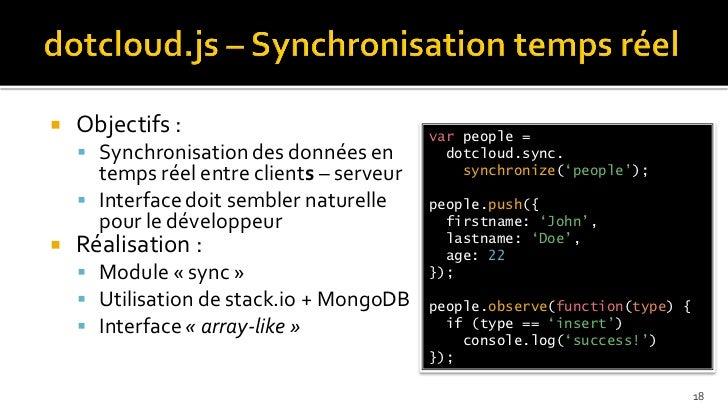    Objectifs :                            var people =     Synchronisation des données en         dotcloud.sync.      te...