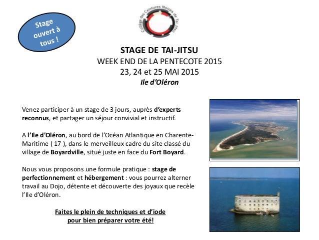 STAGE DE TAI-JITSU WEEK END DE LA PENTECOTE 2015 23, 24 et 25 MAI 2015 Ile d'Oléron Venez participer à un stage de 3 jours...