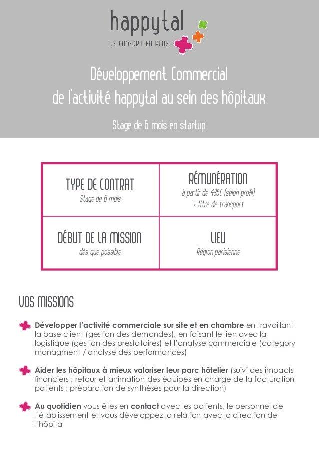 Développement Commercial de l'activité happytal au sein des hôpitaux Stage de 6 mois en startup Type de contrat Stage de 6...